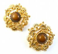 Vintage Ornate Earrings With Mocha Centers By Sphinx